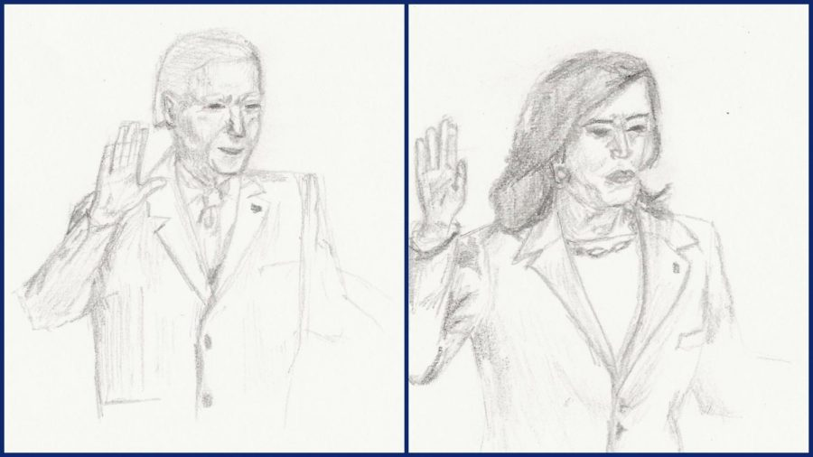 Artwork by Kacie Burns depicting the swearing in of Joe Biden and Kamala Harris as president and vice present, respectively.