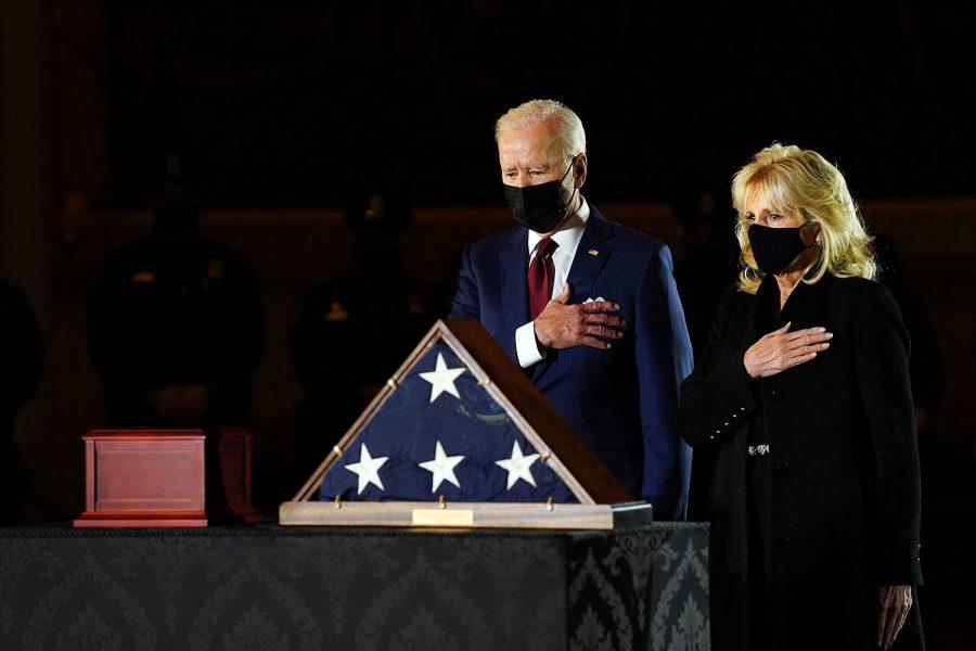 President Joe Biden and First Lady Dr. Jill Biden pay respects to fallen officer Brian Sicknick.